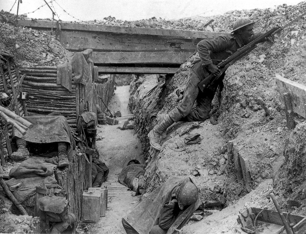 A more common view of World War I - British soldiers in a German trench during the Battle of the Somme, July 1916