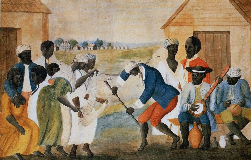 African-American slaves dancing to music. Name: The Old Plantation, late 18th century, artist unknown.