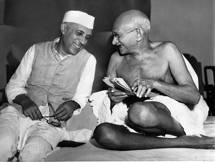Here Gandhi is sharing some laughter with fellow independence movement leader Jawharlal Nehru, Mumbai, 1946