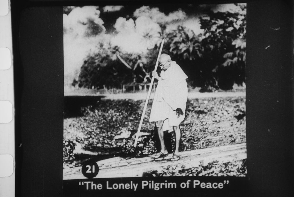 "In this final image Gandhi is portrayed as the ""lonely pilgrim of peace"", a reference to his non-violent means for obtaining change. Alas, Gandhi was soon to suffer a violent death at the hands of Hindu Nationalist Nathuram Godse"