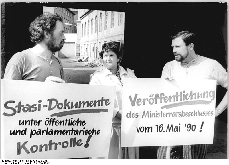 Protests in Leipzig, East Germany, May 1990, demanding the opening up of the Stasi files  Source:  Bundesarchiv, Bild 183-1990-0522-033 / Gahlbeck, Friedrich / CC-BY-SA
