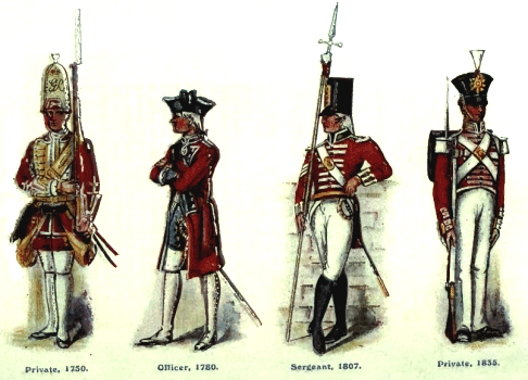 British army redcoats through the ages.  Source: Regimental Nicknames and Traditions of the British Army, London: Gale & Polden, 1916.
