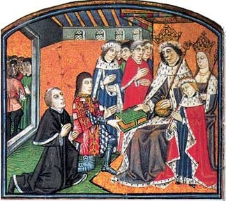 Anthony Woodville, Earl Rivers and William Caxton present the first printed book in English to King Edward IV of England
