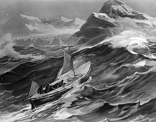 In Sight of Our Goal - Nearing South Georgia. This artwork was published in the United States in Ernest Shackleton's book, South, in 1919.