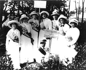 People campaigning for female suffrage.