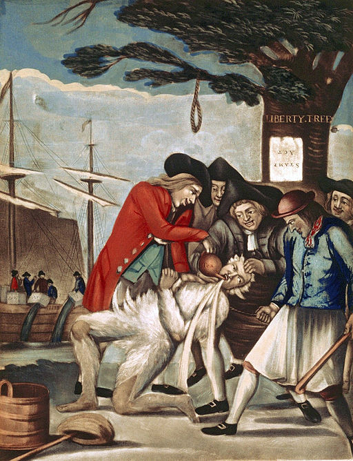 The tarring and feathering of the Loyalist Commissioner of Customs, John Malcolm, January 1774, underneath the Liberty Tree. He is also being forced to drink tea. In the background, the Boston Tea Party is taking place, an event that in reality occurred in December 1773. Painting attributed to Philip Dawe.