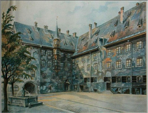 The Courtyard of the Old Residency in Munich - Adolf Hitler