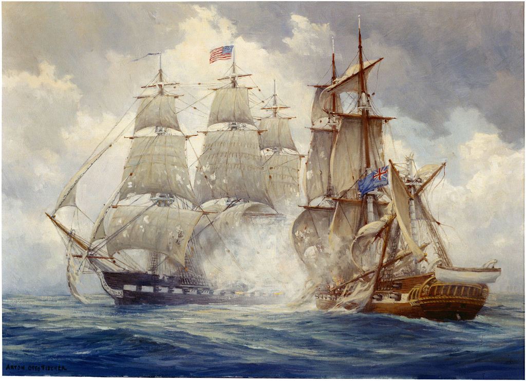US Frigate Constitution defeats the British Frigate Java in December 1812.