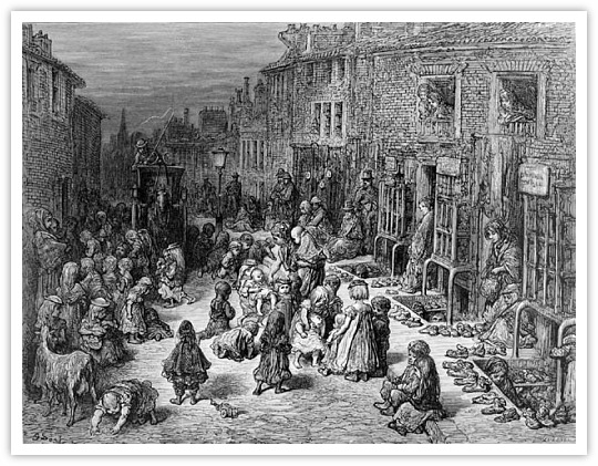 A scene from a slum in London.