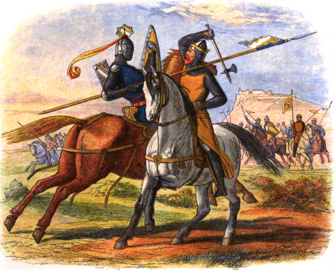 Robert Bruce, King of Scots, kills Sir Henry de Bohun in the Battle of Bannockburn, 1314. From a Chronicle of England: 55 BC - 1485 AD. Published 1864.