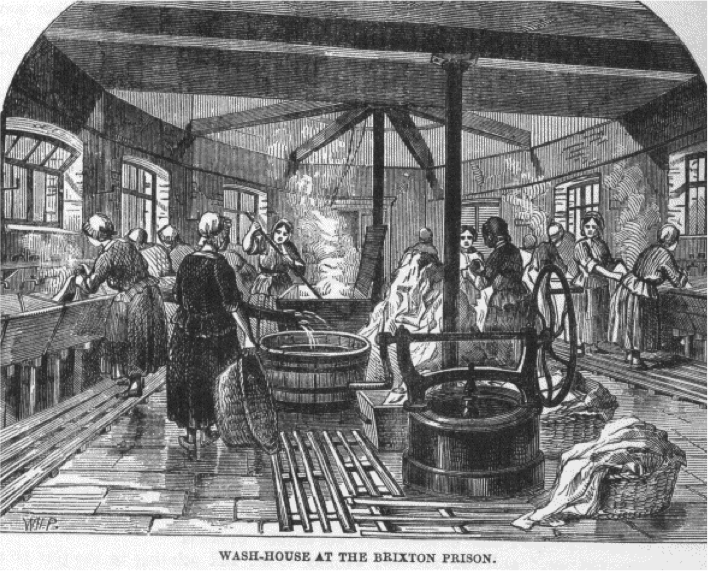 Women working in the 'wash-house at the Brixton prison.'