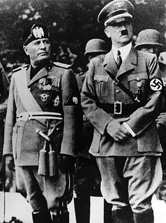Benito Mussolini and Adolf Hitler together in Munich, Germany. 1937.