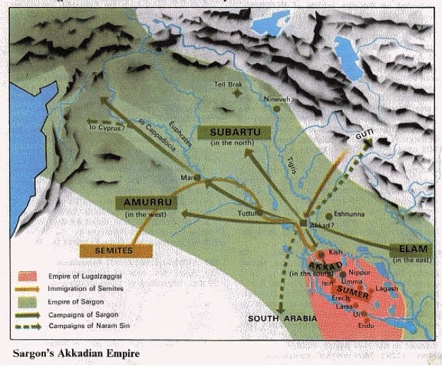 Map showing Sargon's power-base, Akkad, and his raids into Mesopotamia.