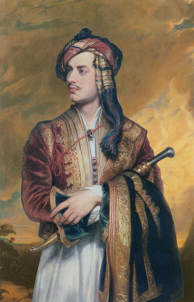 Lord Byron, famed opium user, in Albanian clothes. Painting by Thomas Phillips, 1813.