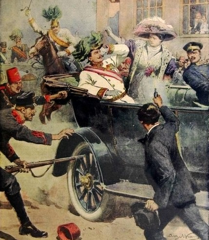 Gavrilo Princip assassinating Archduke Franz Ferdinand. By Achille Beltrame and published in the  Domenica del Corriere  newspaper.