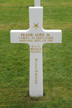 The grave of Frank Luke, probably the First World War's most famous balloon buster.