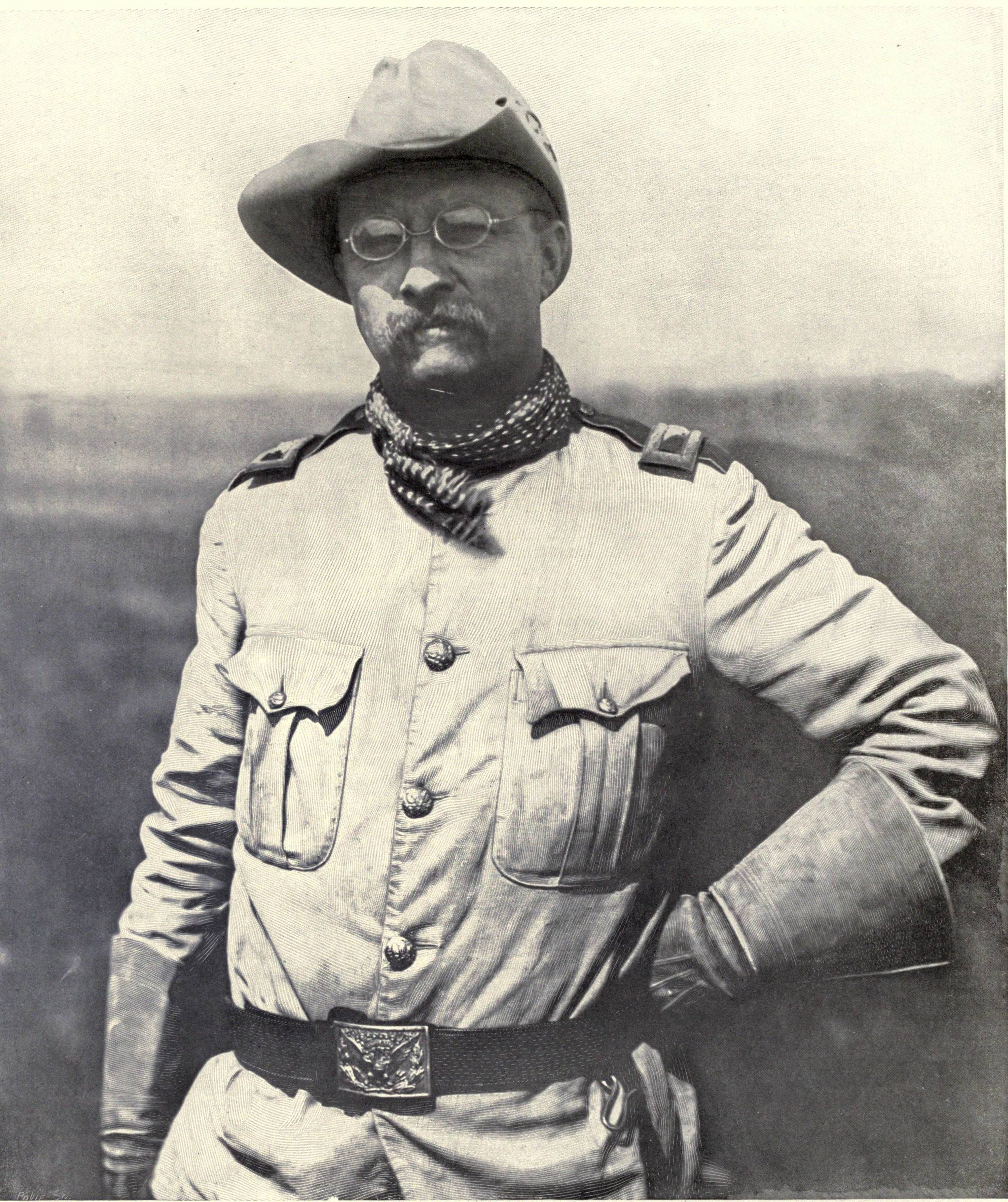 Theodore Roosevelt when in the Rough Riders during the 1898 Spanish-American War. From  Harper's Pictorial History of the War with Spain, Volume II . Published in 1899.