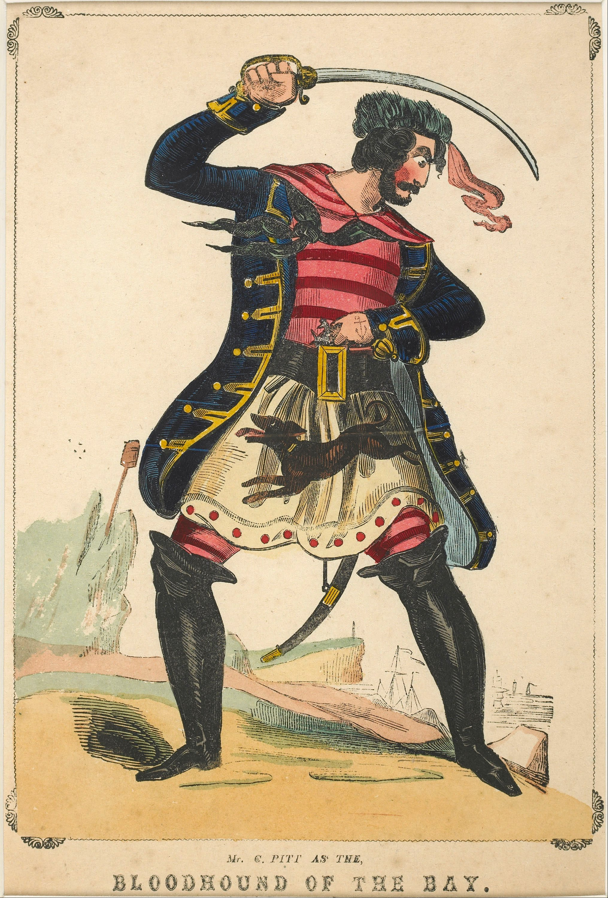 """Mr C. Pitt as the Bloodhound of the Bay"", a portrait of a pirate in the Museum of London."