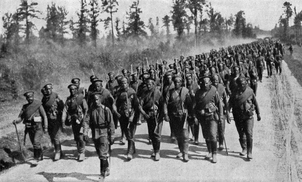 Russian troops on the move to the front line. From National Geographic magazine, volume 31. 1917.