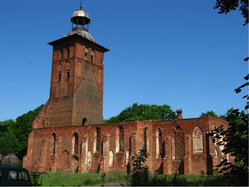 The remains of St. Jacob's Tower in Wehlau (Znamensk).