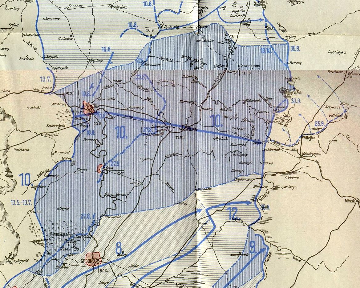 Extent of the German X Army Advance East.