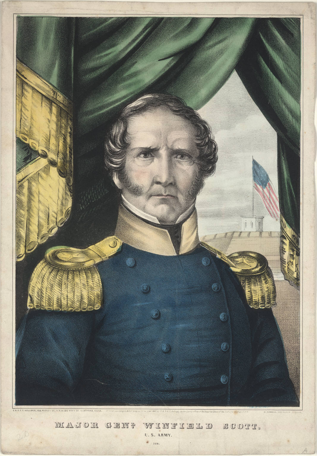 A lithograph of Major General Winfield Scott from 1847.