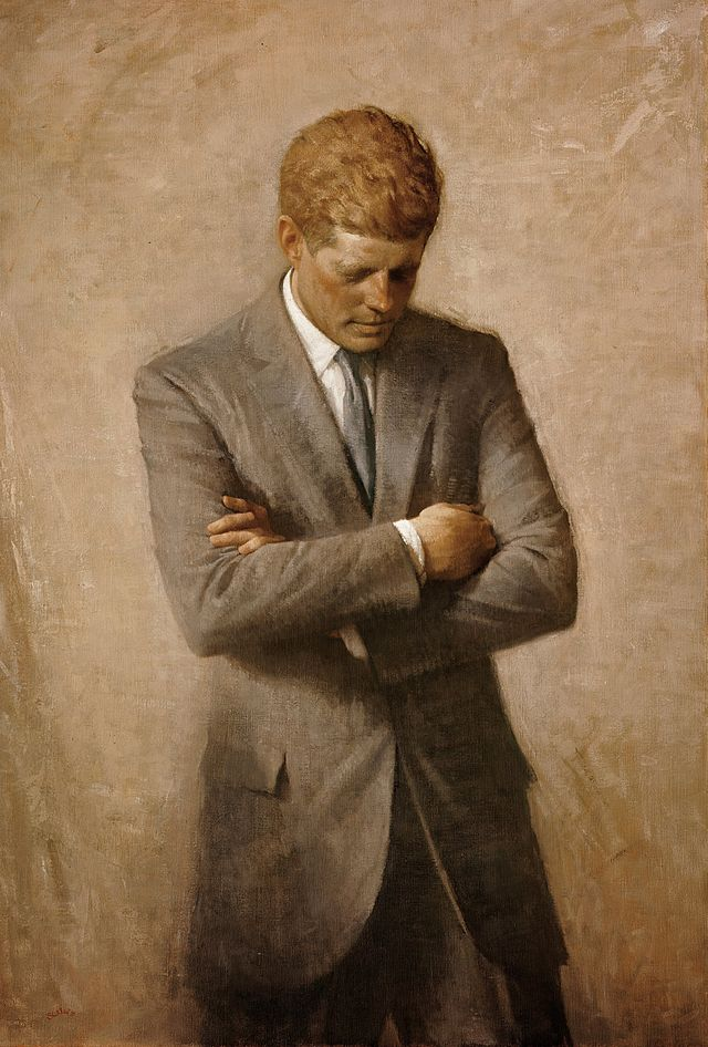 The official presidential portrait of John F. Kennedy.
