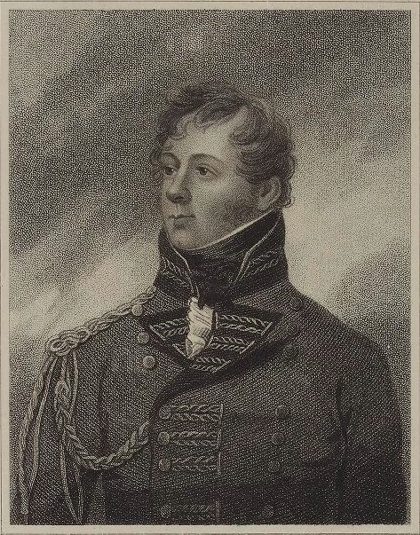 An 1814 print of Robert Rollo Gillespie.