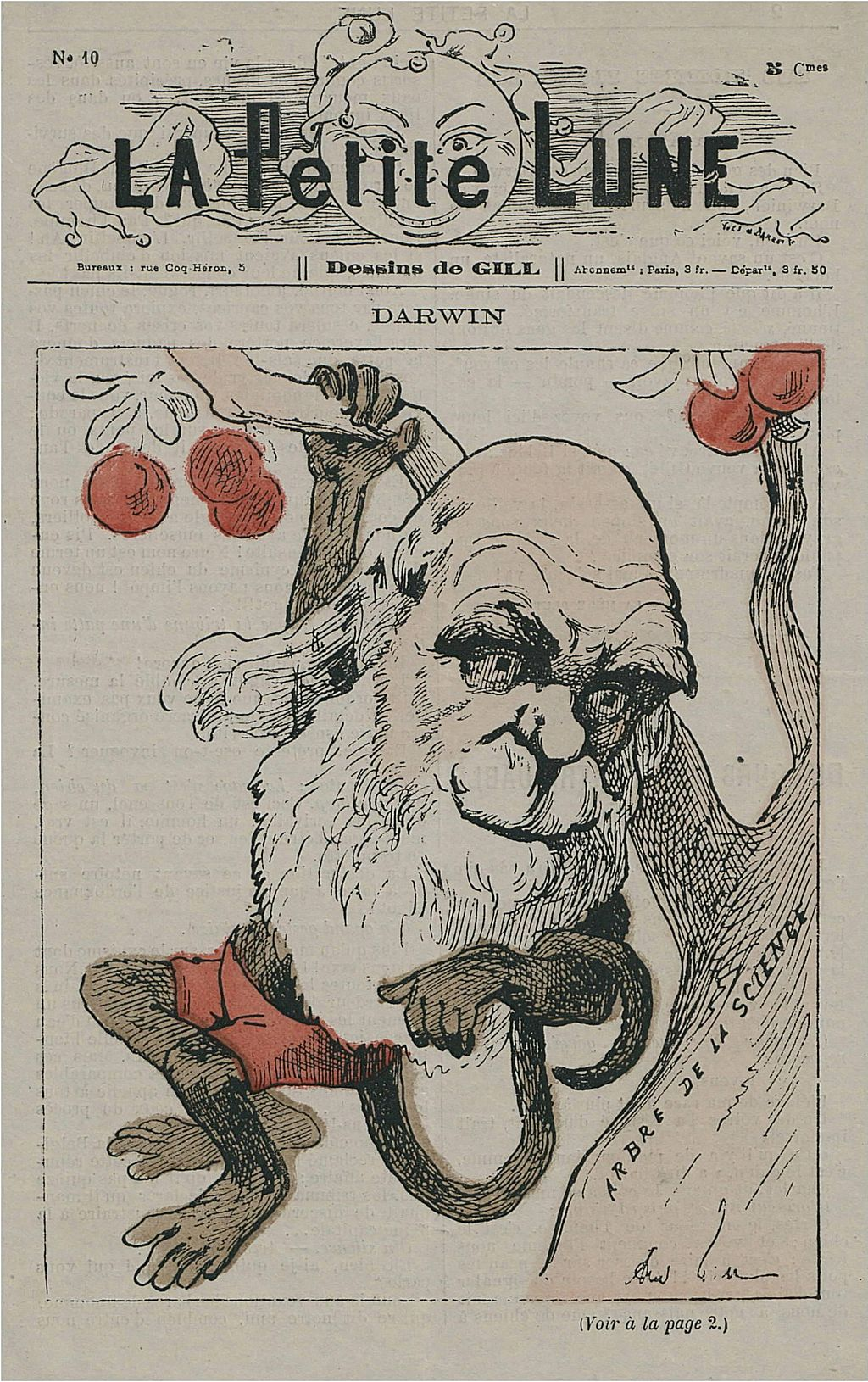 Charles Darwin depicted as a monkey on a tree in  La Petite Lune  (1878).