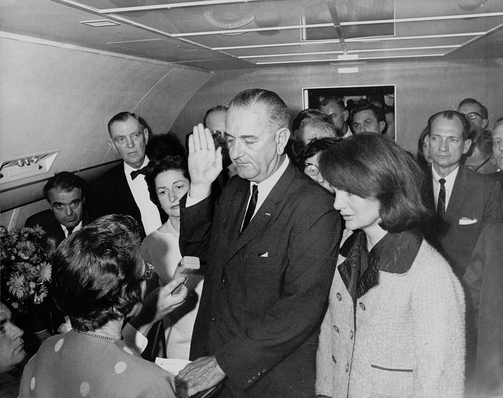 The swearing in of Lyndon B. Johnson in November 1963.