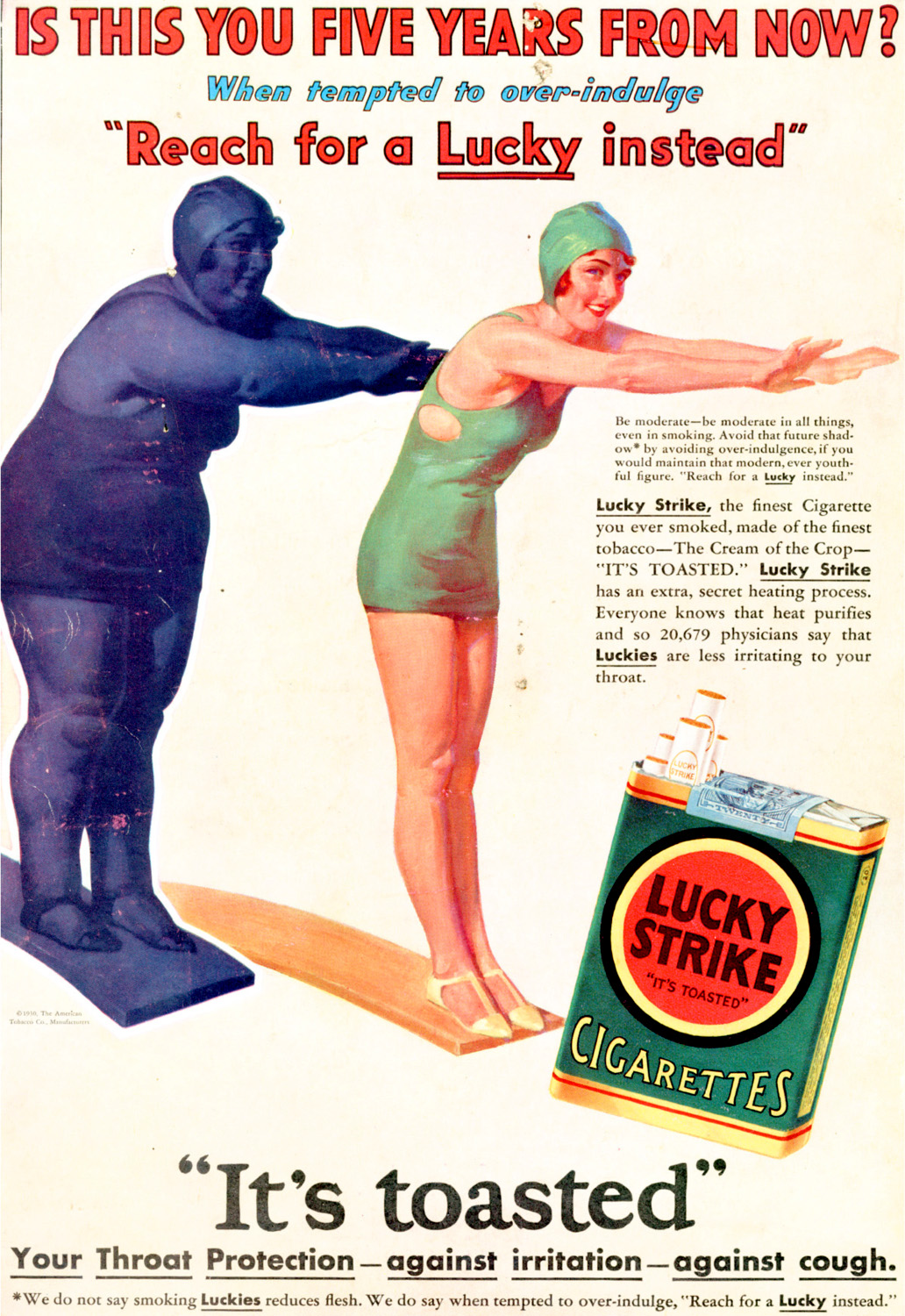 A Lucky Strike advert from the 1930s showing the supposed health benefits of smoking. Source: tobacco.stanford.edu, available  here .