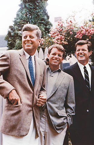 The Kennedy brothers in 1960. Robert is in the middle, with John on the left, and Ted on the right.