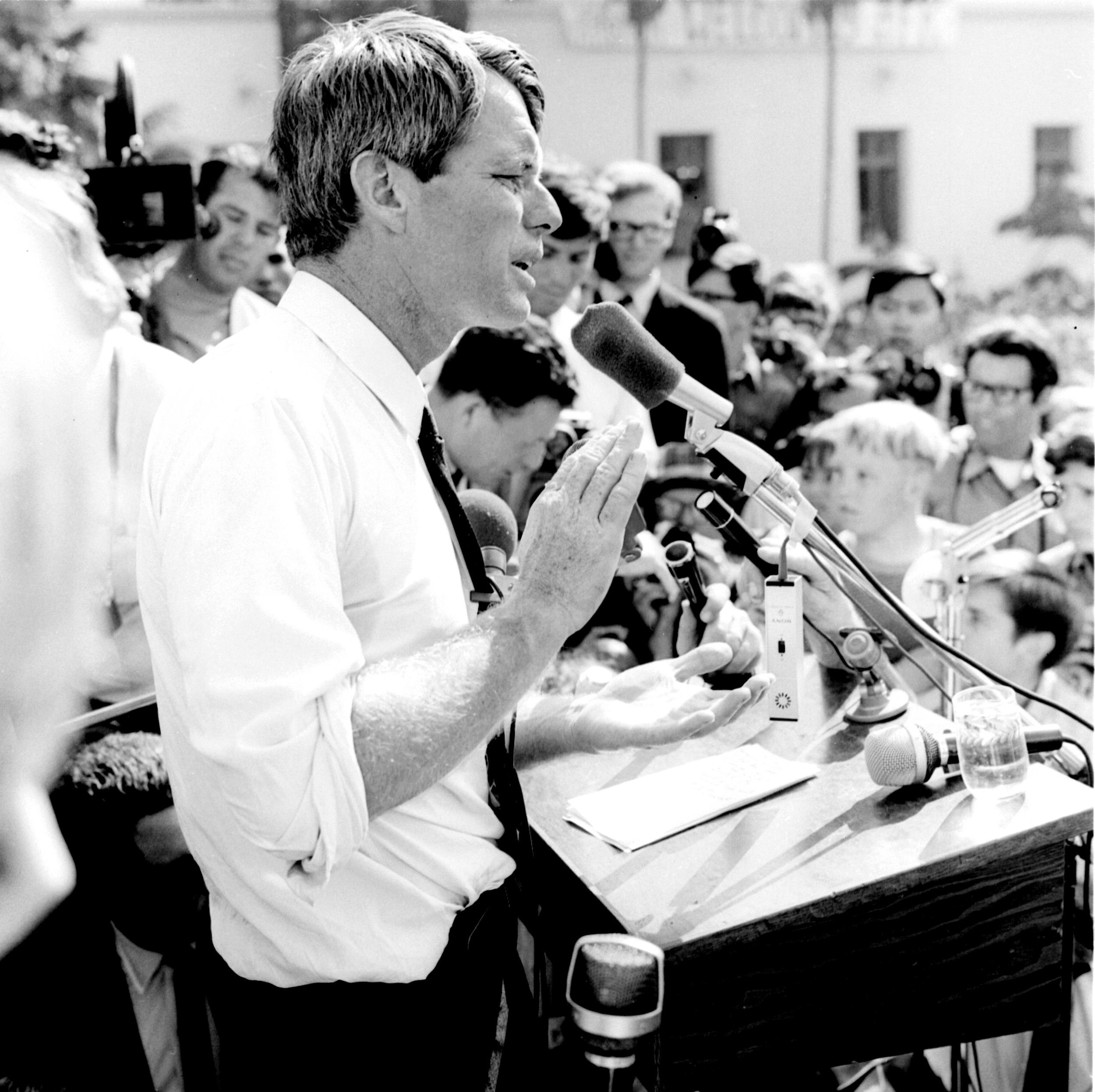 Robert F. Kennedy giving a speech in Los Angeles, California in the spring of 1968.