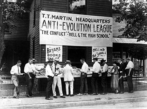 The Anti-Evolution League at the Scopes Trial. Source: Mike Licht, available  here .
