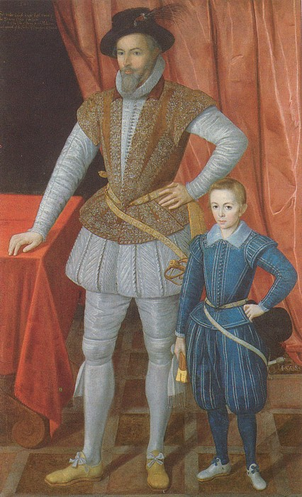 Sir Walter Raleigh and his son Walter. 1602.