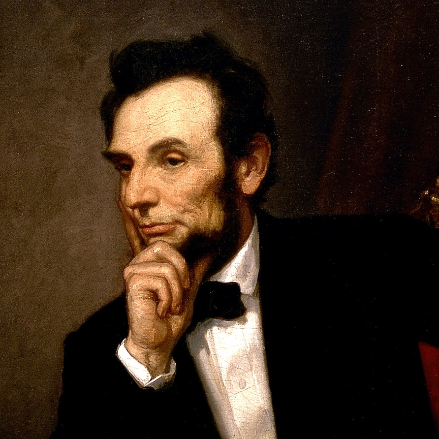 A close-up of the official White House portrait of President Abraham Lincoln.