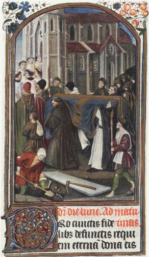 A 15th-century funeral at Old St. Paul's Cathedral in London, UK.
