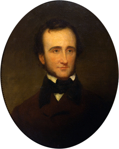 An 1845 portrait of Edgar Allan Poe by Samuel Stillman Osgood.