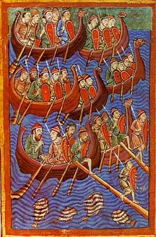 A 12th-century illustration depicting Danes invading England.