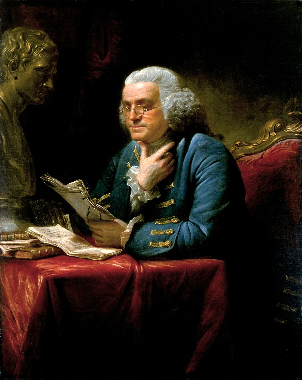 A portrait of Benjamin Franklin from 1767. Portrait by David Martin.