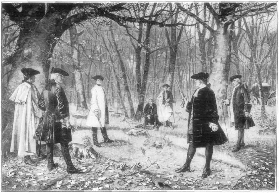 An illustration of the duel between American Founding Father Alexander Hamilton and then US Vice President Aaron Burr in July 1804.