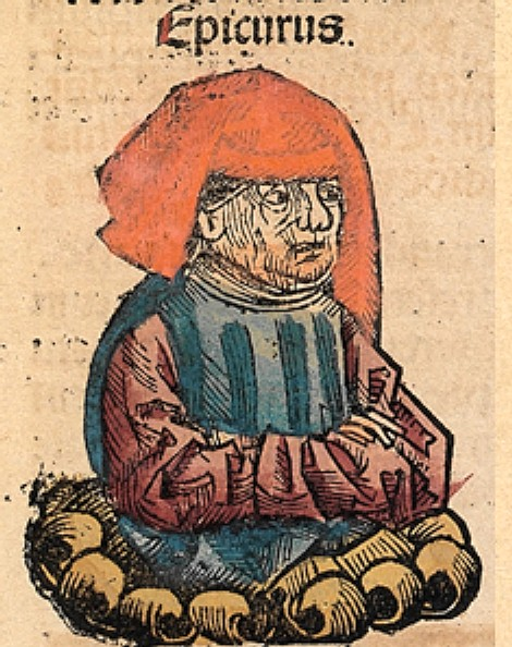 Epicurus as depicted in the  Nuremberg Chronicle  (a late 15th-century book.