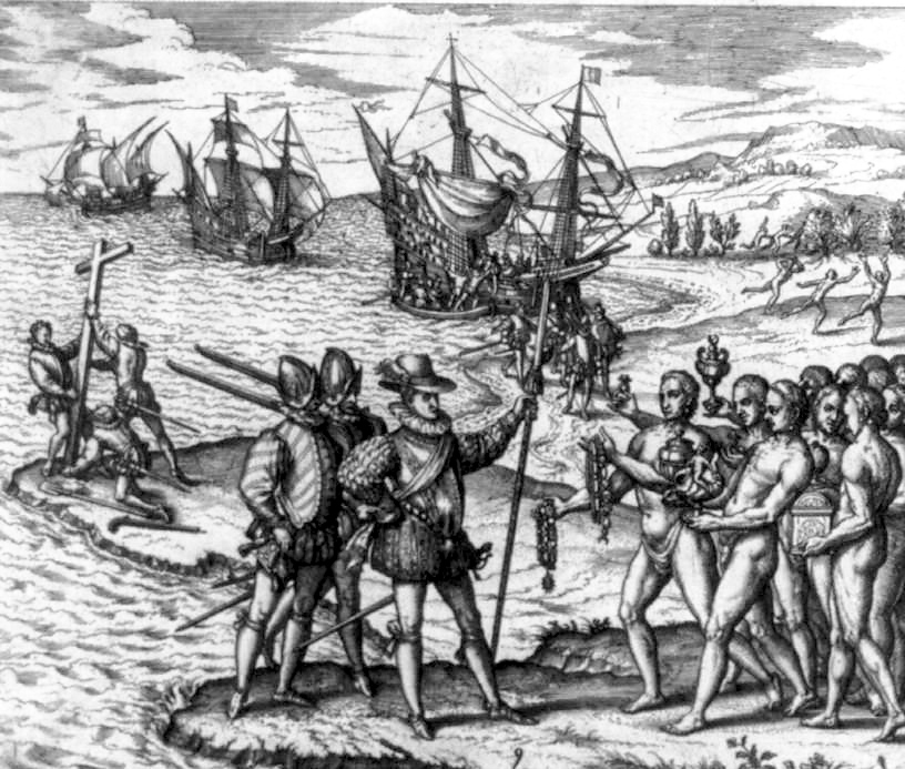 A depiction of Christopher Columbus encountering the Arawak people on the island of Hispaniola in December 1492.