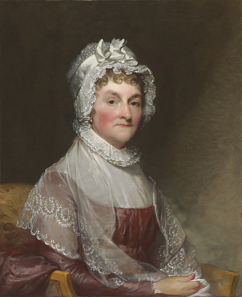 A painting of Abigail Adams by Gilbert Stuart.