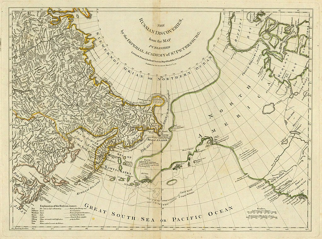 A map from the 1770s showing the Russian Discoveries.
