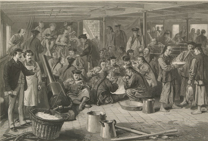 A sketch on the ship  Alaska , bound for San Francisco, with many Chinese people aboard. Sketch from  Harper's Weekly  in 1876. Available  here .