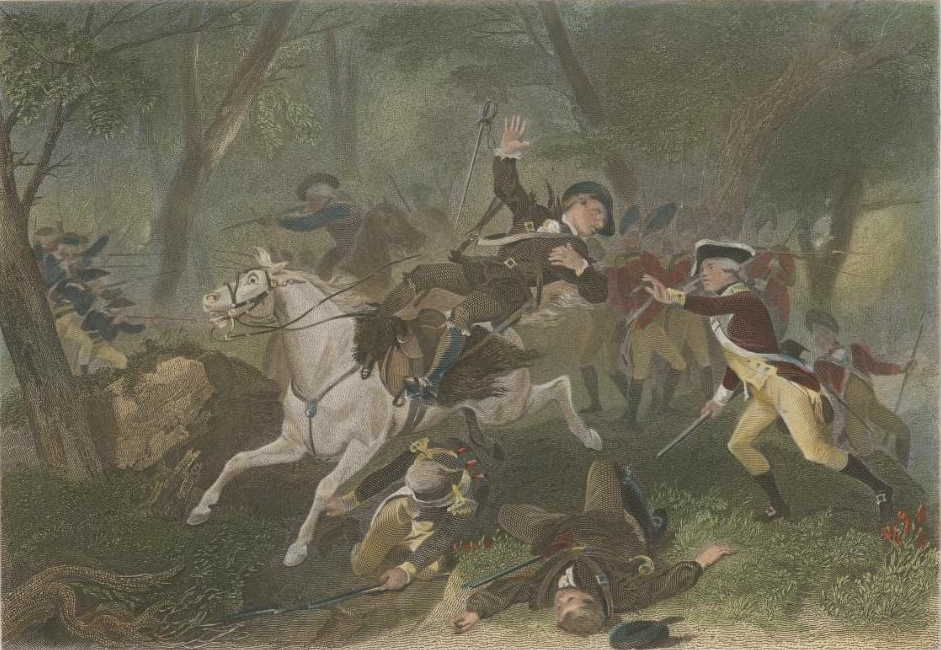 The death of British Major Patrick Ferguson at the Battle of Kings Mountain in October 1780. The Ulster Scots played a key role in this battle. Engraving by Charles Henry Jeens and painting originally by Alonzo Chappel.