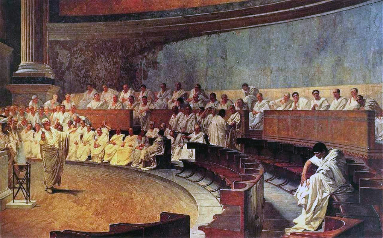 a 19th-century depiction of the Roman Senate by Cesare Maccari. The painting is called  Cicero attacks Catiline .
