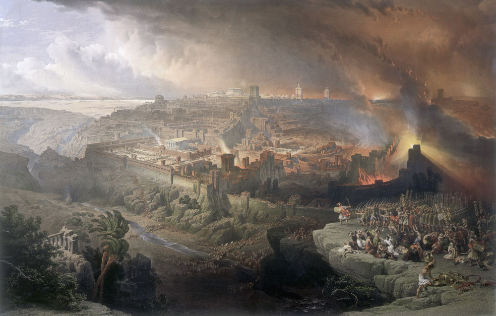 The Siege and Destruction of Jerusalem by the Romans Under the Command of Titus . Artist: David Roberts, 1850.