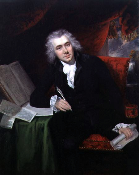 William Wilberforce, perhaps the most famous campaigner in favor of abolishing slavery. Painting by John Rising.